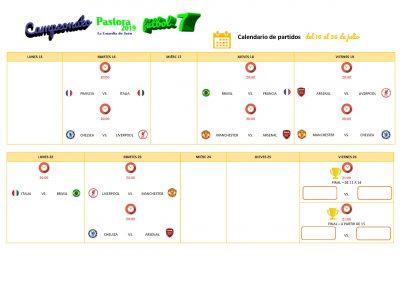 CALENDARIO PARTIDOS CAMPEONATO FUTBOL7 PASTORA 2019