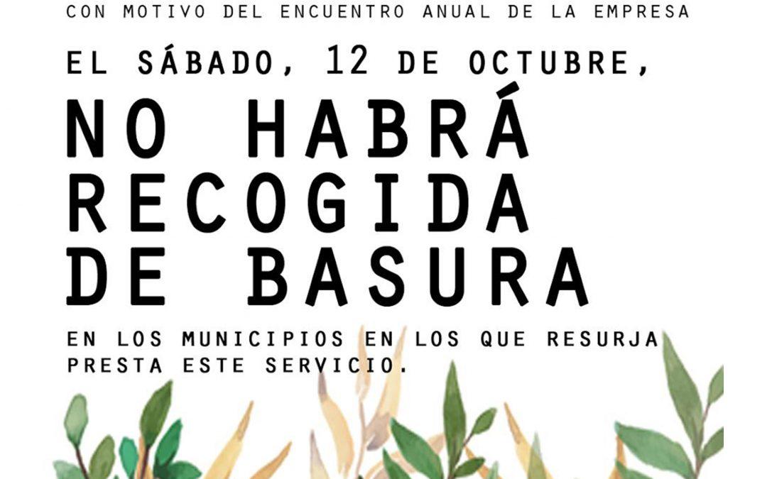 EL SÁBADO 12 DE OCTUBRE NO HABRÁ RECOGIDA DE BASURA