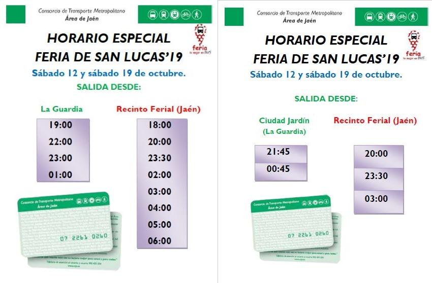 HORARIO DE AUTOBUSES PARA LA FERIA DE SAN LUCAS 2019