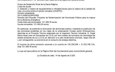 ANUNCIO PROYECTO DE MODERNIZACIÓN DEL ALUMBRADO PÚBLICO