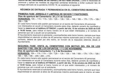 MEDIDAS EXCEPCIONALES CON MOTIVO DE LA FESTIVIDAD DE TODOS LOS SANTOS